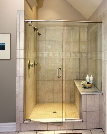 Shower Door With Fixed Notched Panel