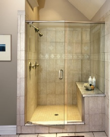 Shower door with fixed/notched panel